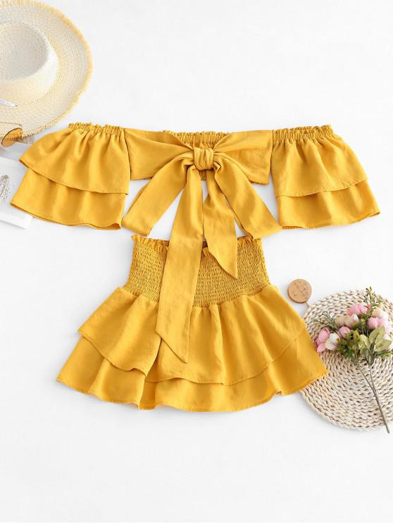 trendy ZAFUL Tie Front Off Shoulder Top And Smocked Skorts Set - YELLOW S