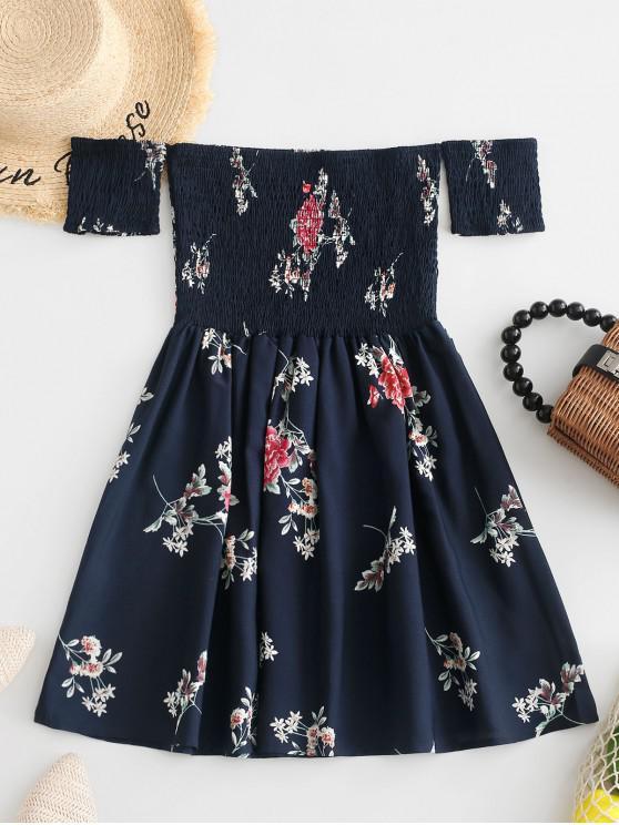 Mini-Robe Fleurie Plissée à Epaule Dénudée - Bleu L