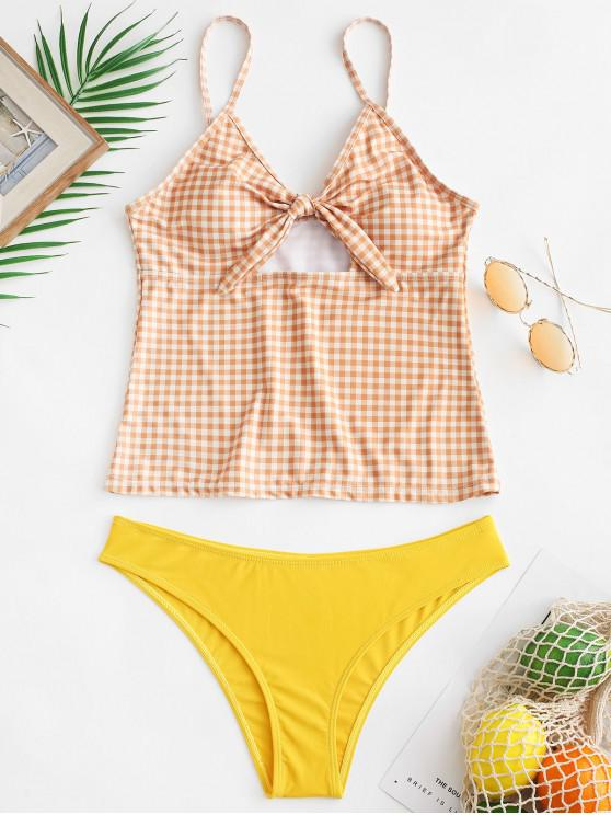 online ZAFUL Plaid Tied Keyhole Tankini Set - RUBBER DUCKY YELLOW XL