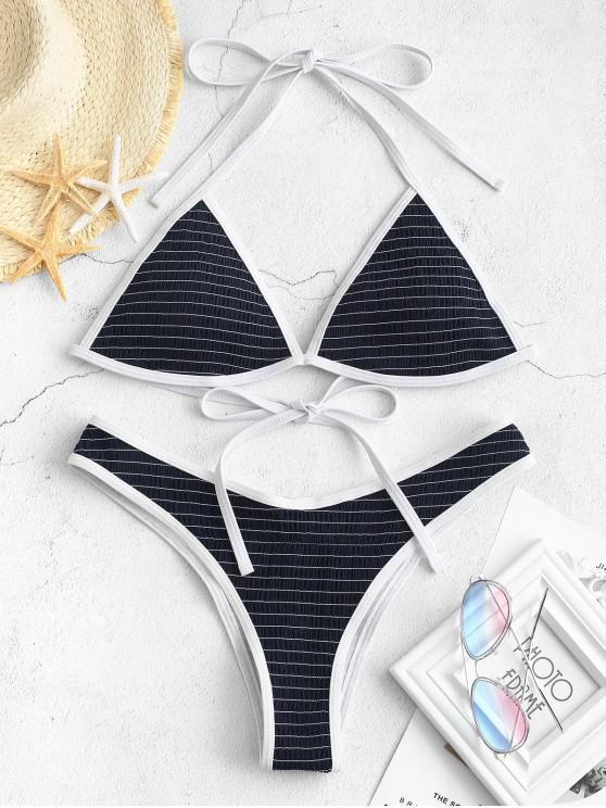 ZAFUL Contrast Trim Smocked Bikini Set - Lapislázuli S