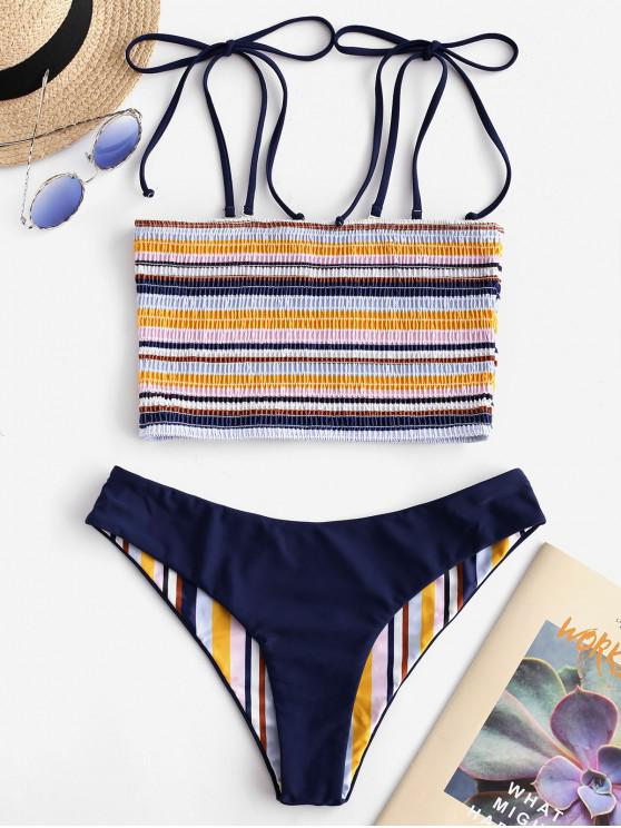 women's ZAFUL Striped Tie Reversible Smocked Bikini Set - MULTI-A L