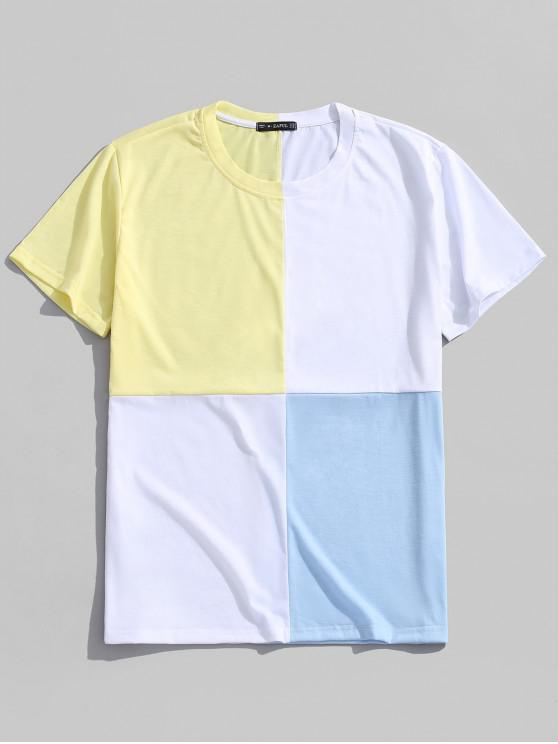 trendy Zaful Color Block Panel Casual Tee - WHITE XL