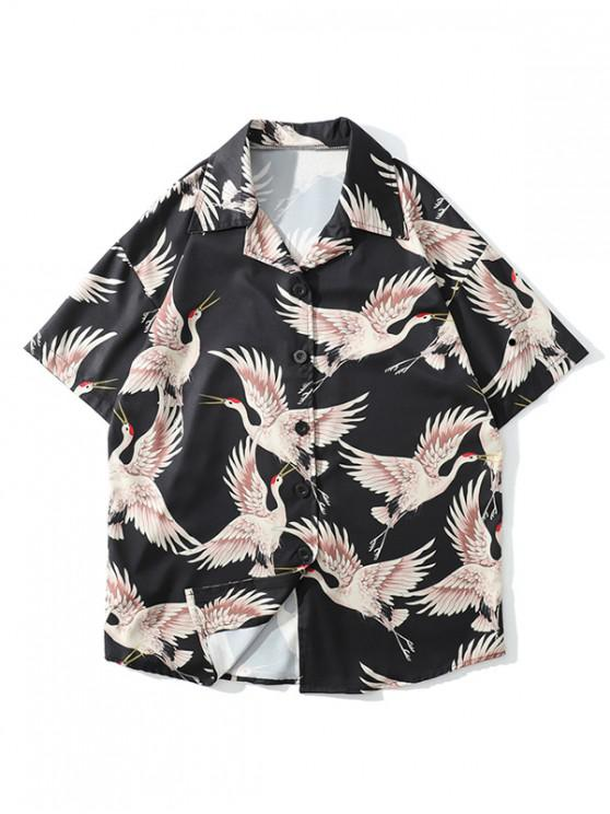 hot Allover Flying Crane Print Button Shirt - ORANGE PINK L