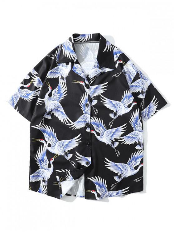 Allover-Fliegender Kran-Druckknopf- Shirt - Himmelblau M