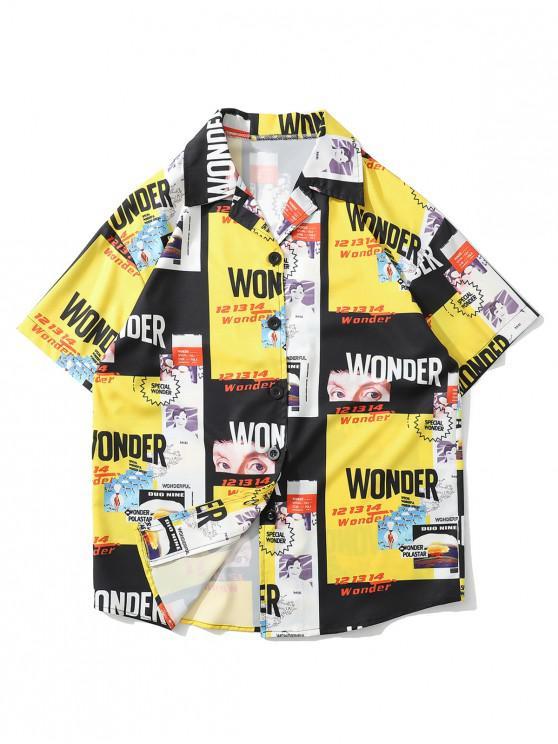 fashion Letter Graphic Print Beach Button Shirt - MULTI-A M