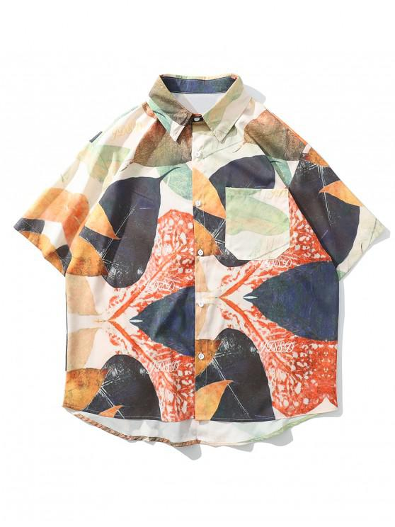 affordable Leaf Painting Print Button Shirt - MULTI M