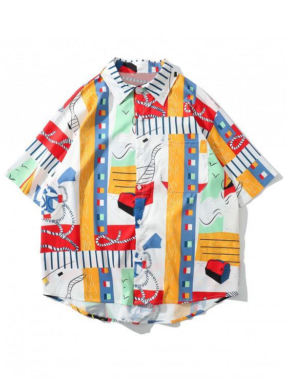 shops Asymmetric Graphic Print Beach Shirt - MULTI XL