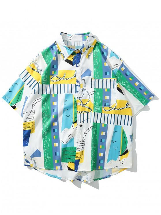 trendy Asymmetric Graphic Print Beach Shirt - MULTI-W M