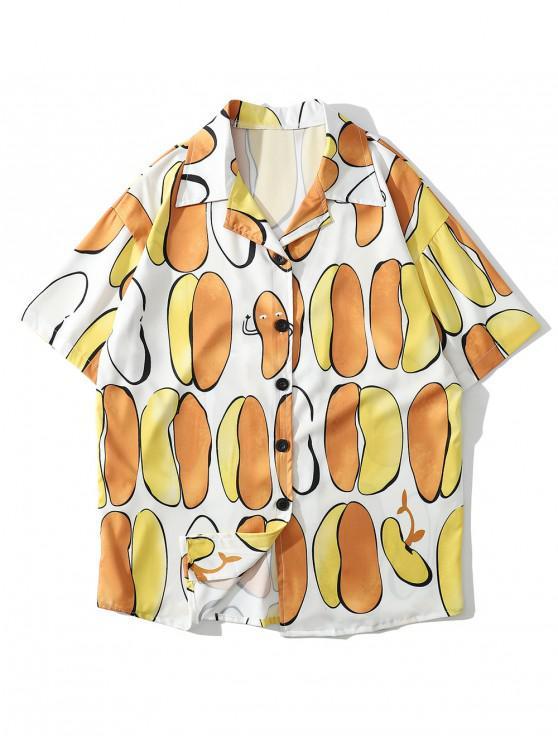 Unregelmäßiges Freizeithemd mit geometrischem Druck - Biene Gelb 2XL