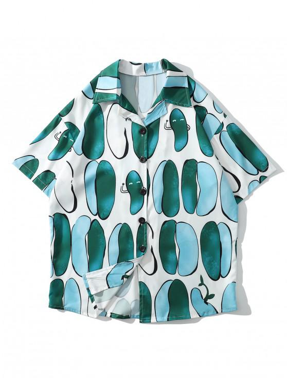 ladies Irregular Geometric Print Casual Shirt - MEDIUM TURQUOISE 2XL