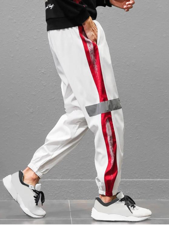 Pantalon de Jogging avec Empiècement en Blocs de Couleurs et Imprimé Inscription - Blanc L