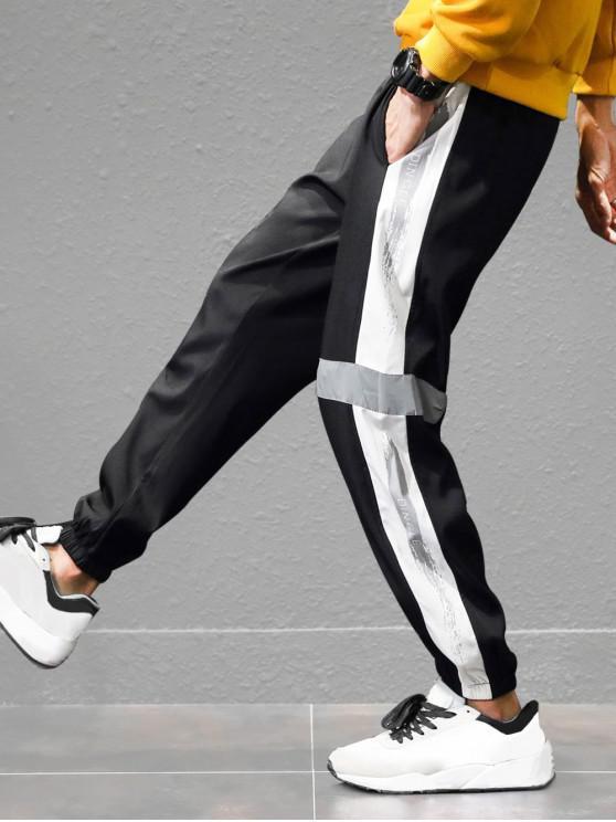 latest Letter Print Panel Color Block Jogger Pants - BLACK L