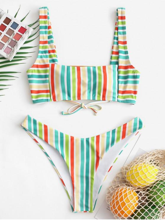 Bikini de rayas multicolores de corte alto ZAFUL - Multicolor-A M