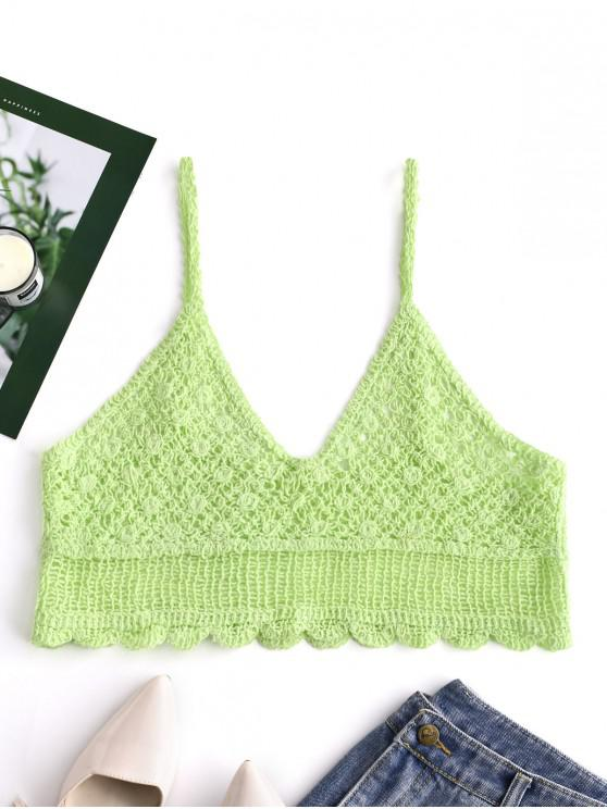 latest Crochet Crop Cami Top - GREEN ONE SIZE