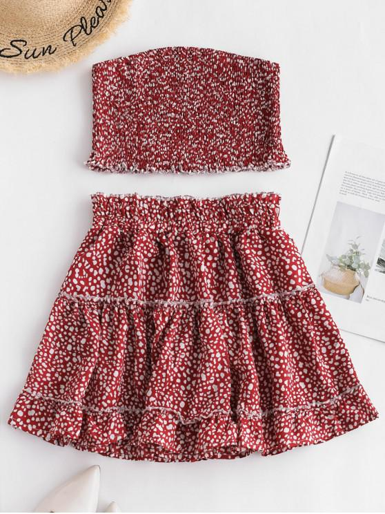 womens ZAFUL Printed Smocked Bandeau Top And Skirt Set - CHERRY RED L