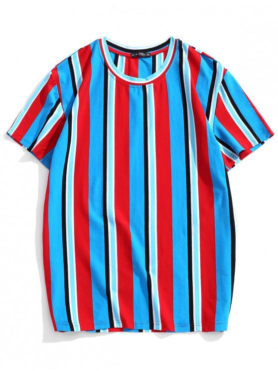 women ZAFUL Vertical Striped Print T-shirt - MULTI 2XL