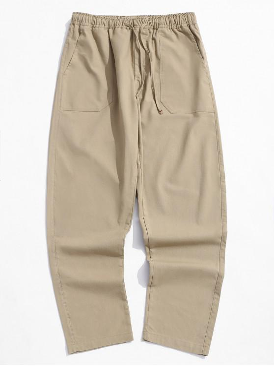 lady Solid Color Straight Casual Pants - KHAKI M