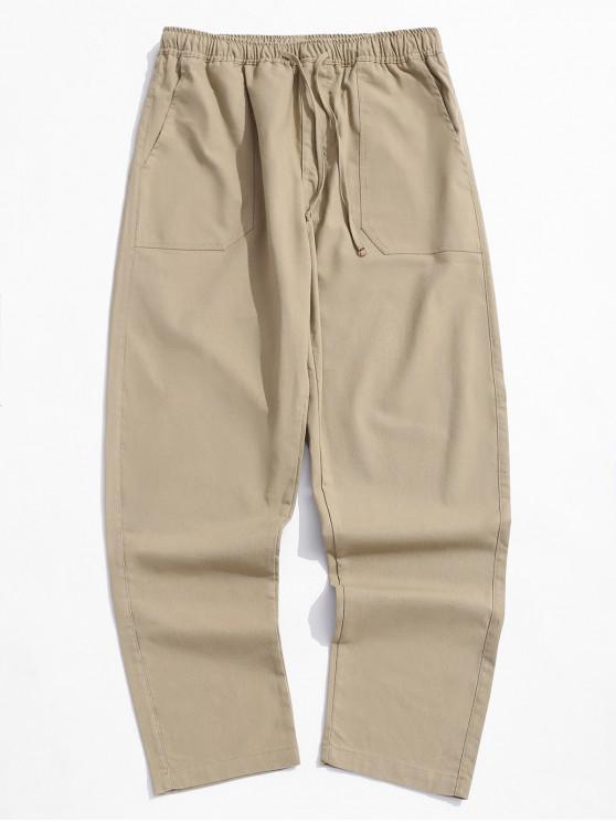 Pantalones casuales rectos de color sólido - Caqui XL