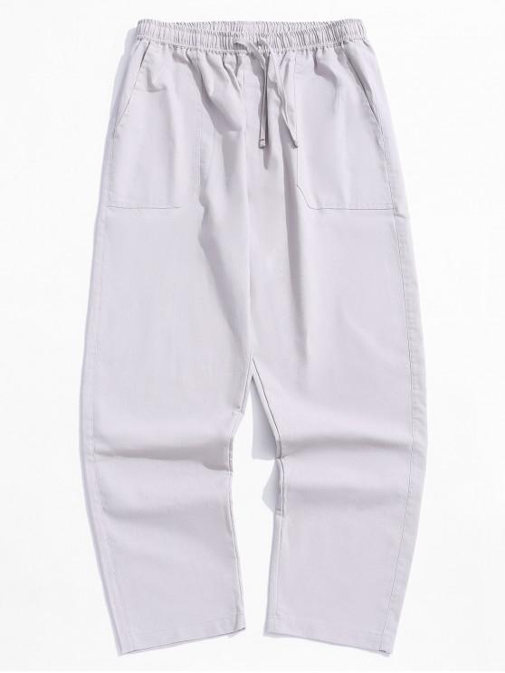 Pantalones casuales rectos de color sólido - Gris XL
