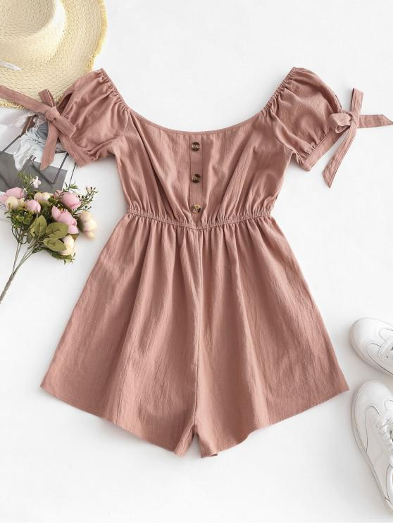 buy ZAFUL Button Embellished Tie Cuffs Romper - ROSE S