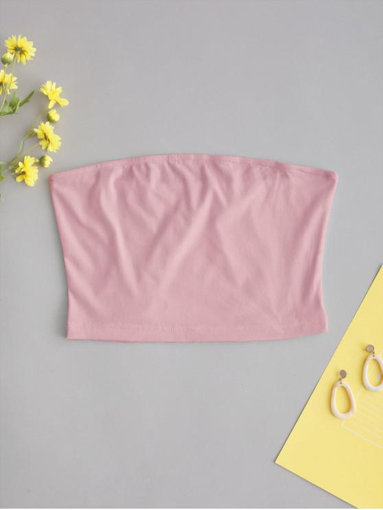 women ZAFUL Solid Plain Bandeau Top - PIG PINK S
