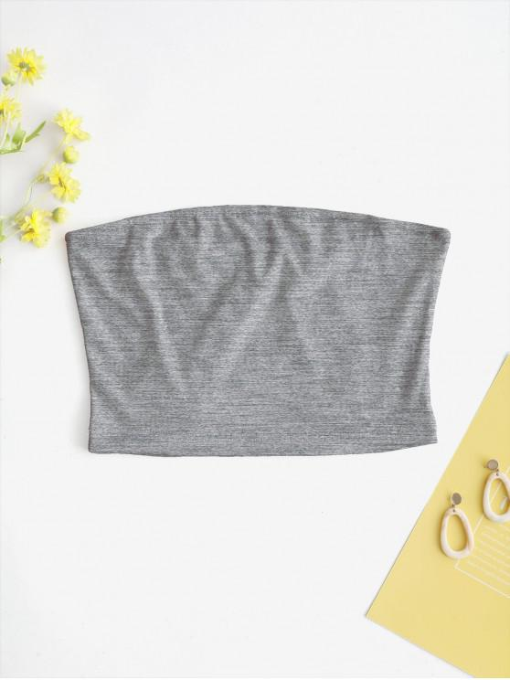 women's ZAFUL Solid Plain Bandeau Top - GRAY CLOUD L