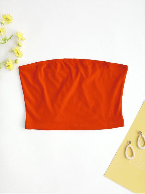 affordable ZAFUL Solid Plain Bandeau Top - CHESTNUT RED L