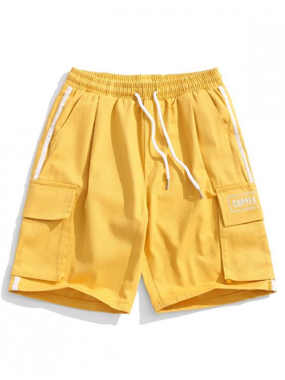 online Striped Trim Casual Elastic Shorts - YELLOW L