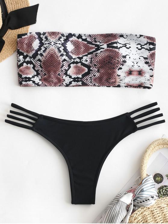 buy ZAFUL Snake Print Strappy Bikini Set - BLACK M