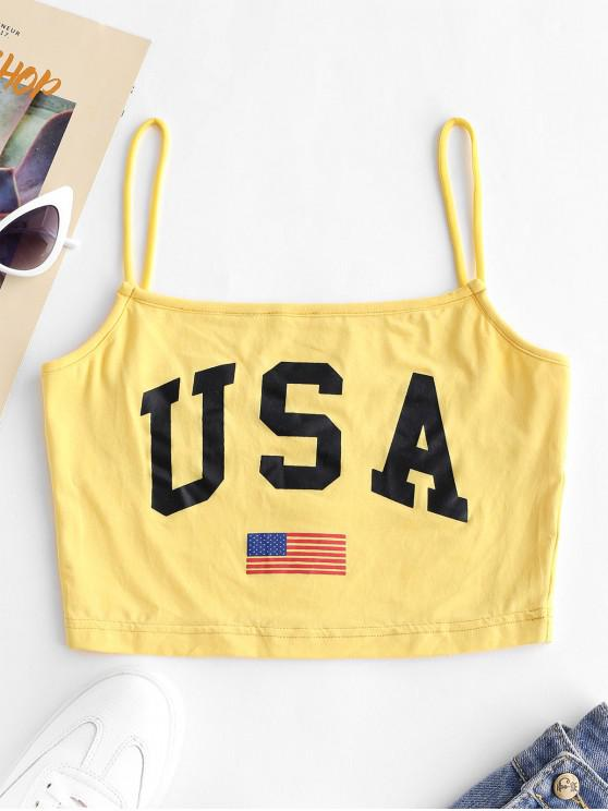womens Letter American Flag Print Cami Top - YELLOW S
