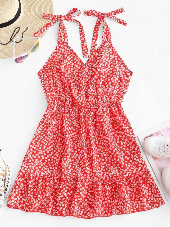 women's ZAFUL Floral Tie Shoulder Flounce Mini Dress - RED XL