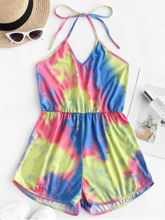 fashion Backless Tie Dye Halter Romper - MULTI-C L
