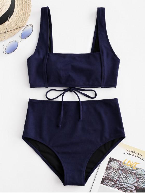shop ZAFUL Textured Tie Tank Bikini Set - MIDNIGHT BLUE L