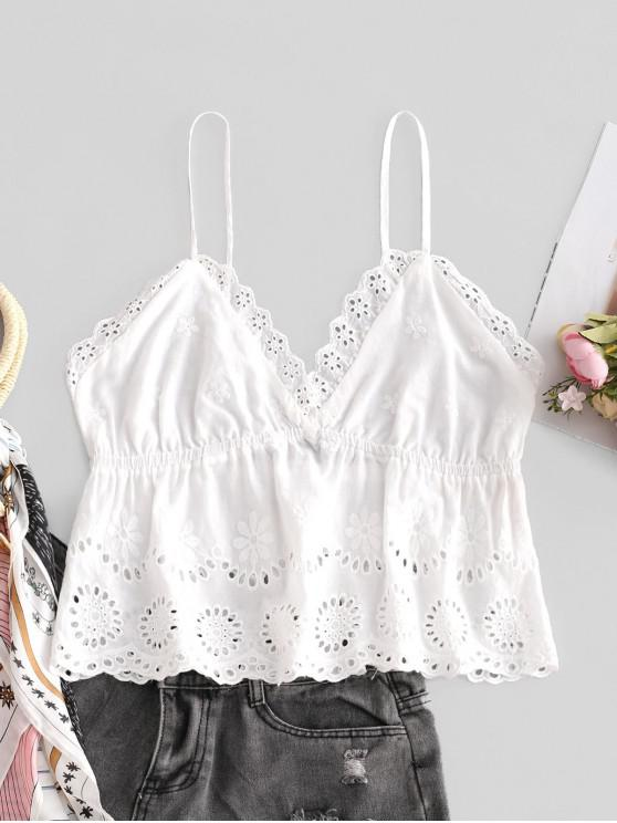 affordable ZAFUL Scalloped Skirted Eyelet Cami Top - WHITE L