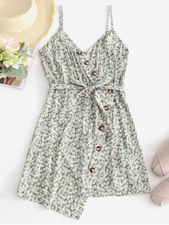 shops ZAFUL Buttoned Overlap Floral Cami Dress - CRYSTAL CREAM M