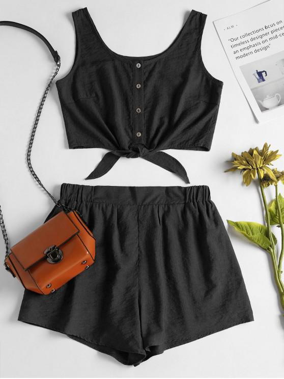 fashion Sleeveless Button Up Crop Top and Shorts Set - BLACK S