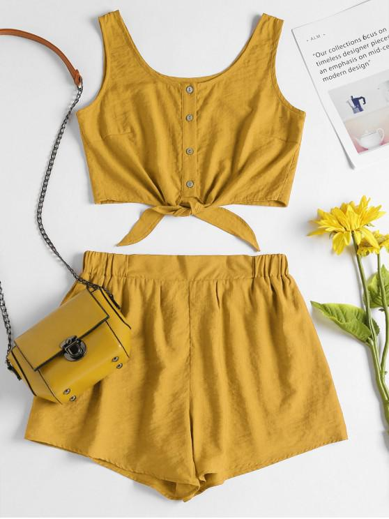 trendy Sleeveless Button Up Crop Top and Shorts Set - BEE YELLOW L
