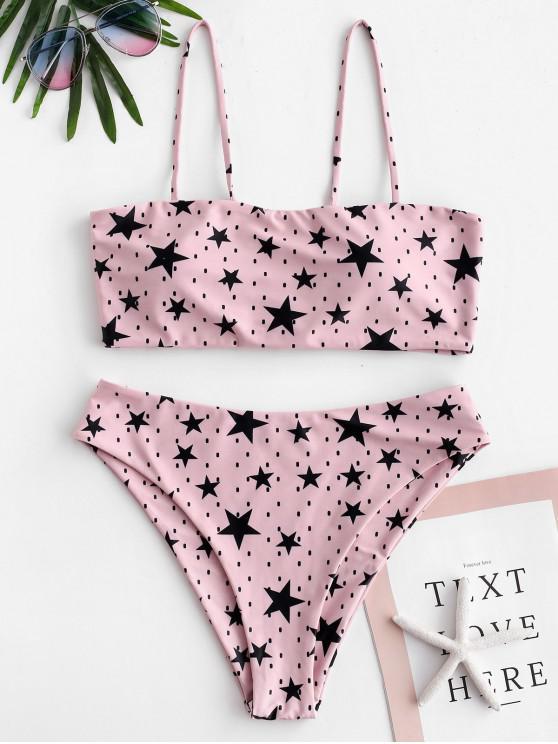sale ZAFUL Tie Stars Print Bikini Set - PINK ROSE M