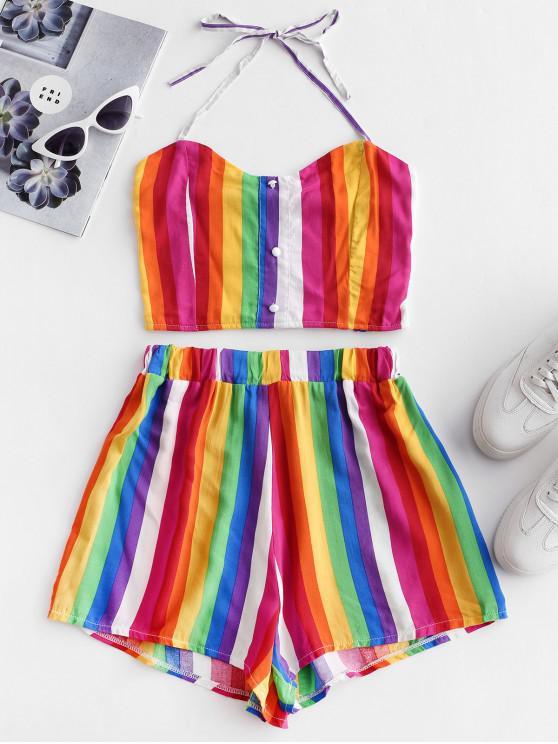 lady Rainbow Striped Smocked Loose Shorts Set - MULTI L