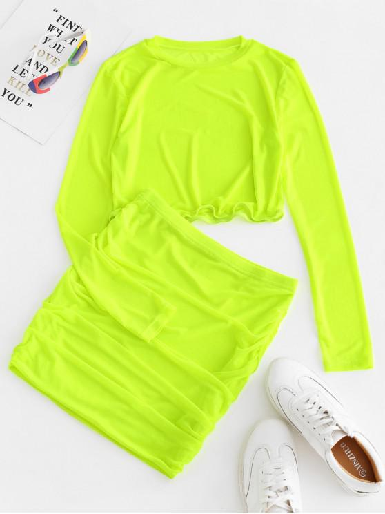 trendy Neon Mesh Top and Ruched Skirt Set - GREEN YELLOW L