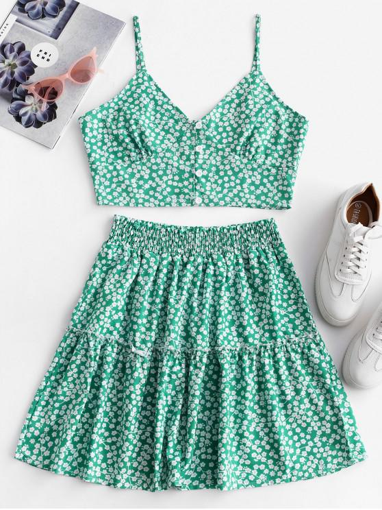 ladies Floral Print Buttoned A Line Skirt Set - GREEN L