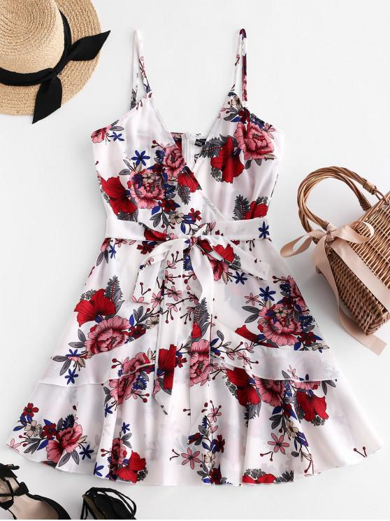 shops ZAFUL Ruffles Knotted Floral Cami Dress - WHITE L