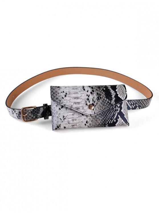 fashion PU Snakeskin Pattern Belt Bag - GRAY