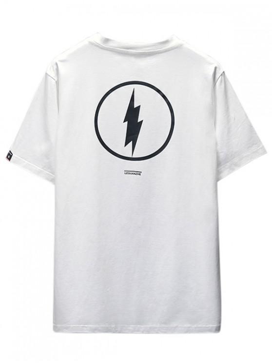 shop Thunder Graphic Print Casual T-shirt - WHITE XS