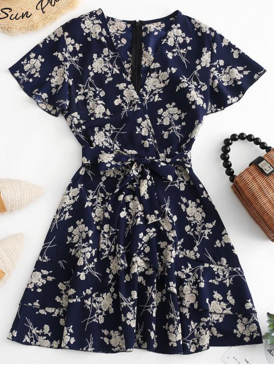 womens Floral Print Ruffles Belted Surplice Dress - MULTI-A L