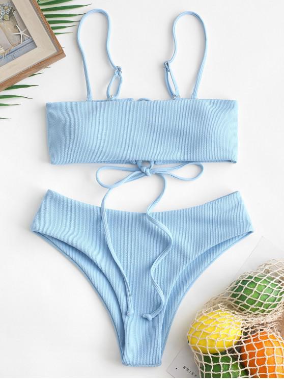 latest ZAFUL Tie Ribbed Bandeau Bikini Set - JEANS BLUE L