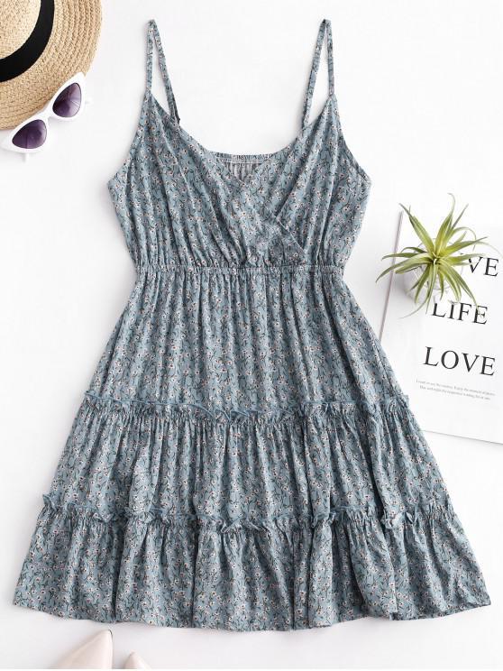 shop Floral Print Surplice Cami Dress - PASTEL BLUE S