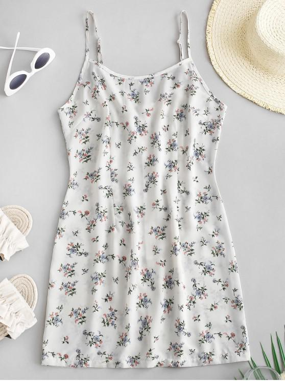 outfits Back Zipper Floral Cami Mini Dress - WHITE L