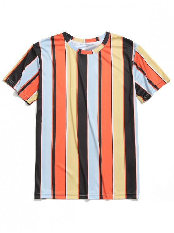 chic Vertical Striped Print Short Sleeves Tee - MULTI L