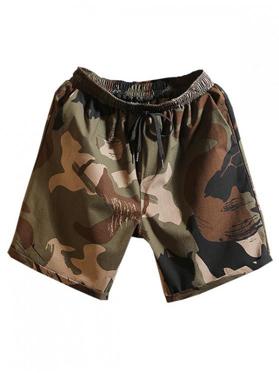chic Drawstring Painting Print Casual Shorts - MULTI-B XL